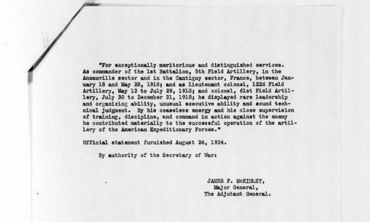 War Department statement of service